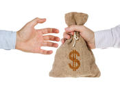 Main thumb hand giving money bag isolated white background 33837164